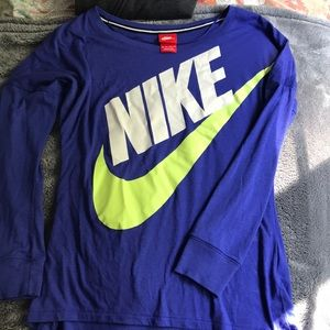 Nike long sleeve blue top with logo